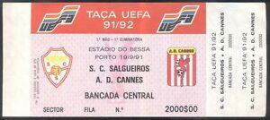 Ticket - UEFA CUP 1991/92 - Salgueiros - AD Cannes -