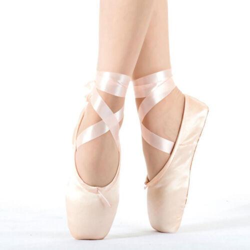 Women Comfy Pink Ballet Dance Toe shoes Professional Ladies Satin Pointe Shoes