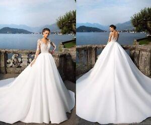 New milla nova long sleeve wedding dresses v neck lace applique