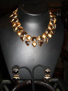 Vintage-Anne-Klein-Black-Enamel-Necklace-amp-Earrings-Set-Stunning