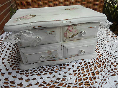 Vintage Shabby Holz Truhe Schmuckkästchen Romantik Rosen Upcycling Handarbeit