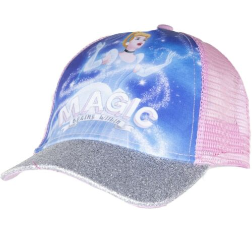 Disney Princess Girls Baseball Cap Summer Sun Hats with Glittery Visor 2-8 Years
