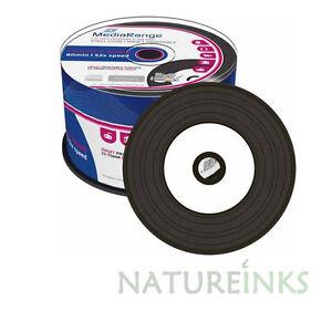 50-MediaRange-Negro-Fondo-Vinilo-CD-R-en-blanco-DISCOS-CD-Imprimible-52-x-700mb