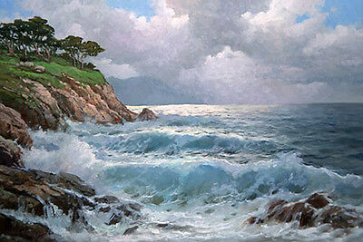 Beautiful Oil painting seascape ocean waves with rocks canvas handpainted 36""