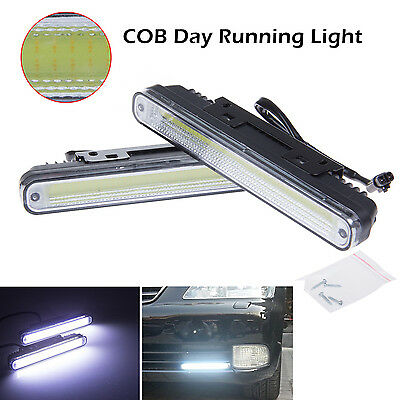Super Bright COB White Car LED Lights for DRL Fog Driving Lamp x2 Waterproof 12V