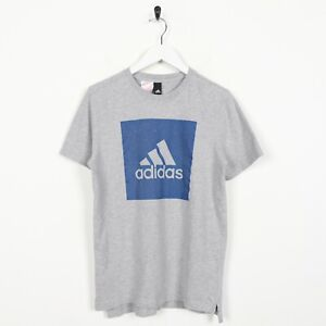 Vintage-ADIDAS-Big-Spell-Out-Logo-T-Shirt-Tee-Grey-Small-S