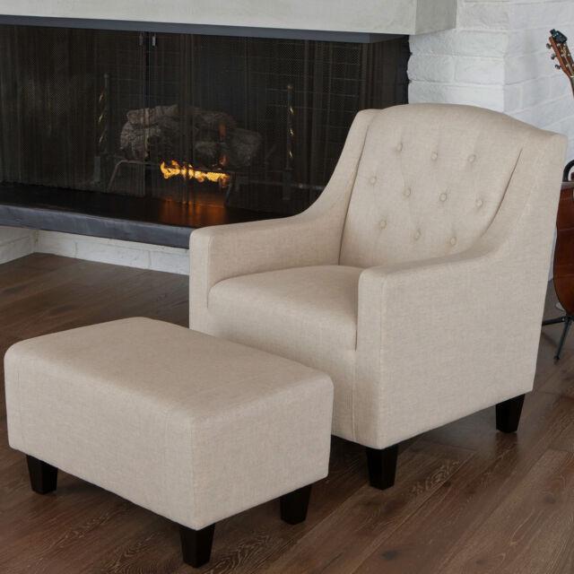 Canberra Beige Linen ArmChair & Footstool Set Lounge Arm Tub Chair Sofa
