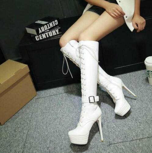 US4-13 Women Punk platform stilettos heel Lace Up Knee High Boots Buckle Shoes M