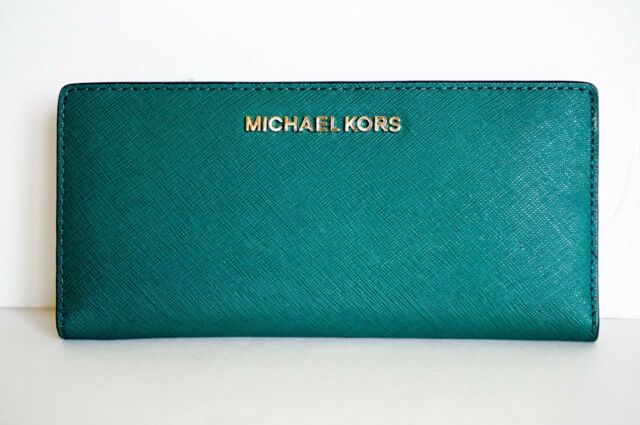55d31aba1b4be1 Michael Kors Jet Set Travel Large Card Case Carryall Leather Wallet Emerald  Navy