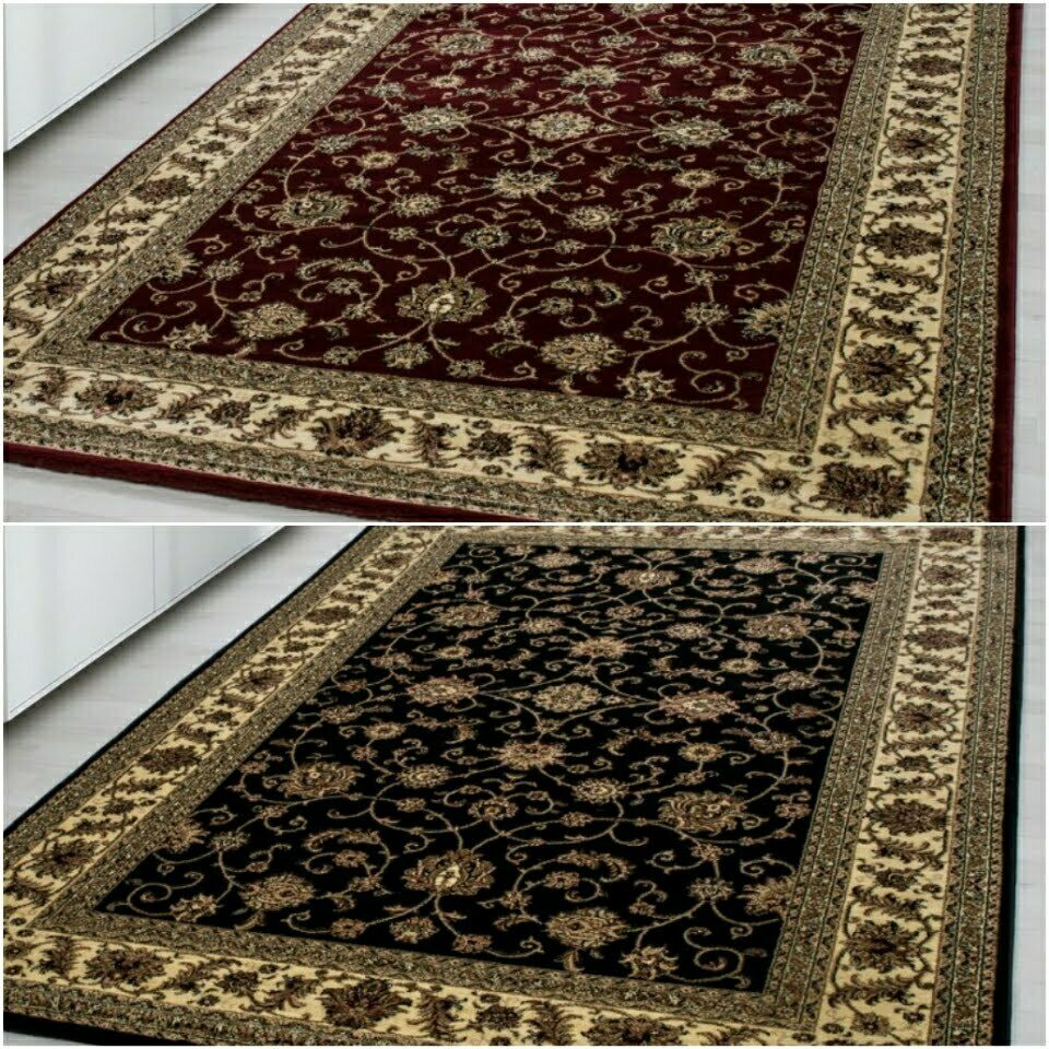 Qualità Oriental tradizionale bordati Design Classico Morbido Tappeto Tappeto Rosso, Nero