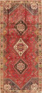 Vintage-Geometric-Tribal-Nomad-Abadeh-Oriental-Runner-Rug-Wool-Hand-Knotted-4x9