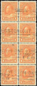 Canada-Used-VF-BLOCK-of-8-Scott-122-1925-1-00-King-George-V-Admiral-Stamps