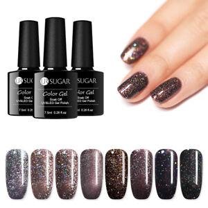 UR-SUGAR-7-5ml-Gel-Polish-Dark-Brown-Holographic-Glitter-UV-Soak-Off-Nail-Gel