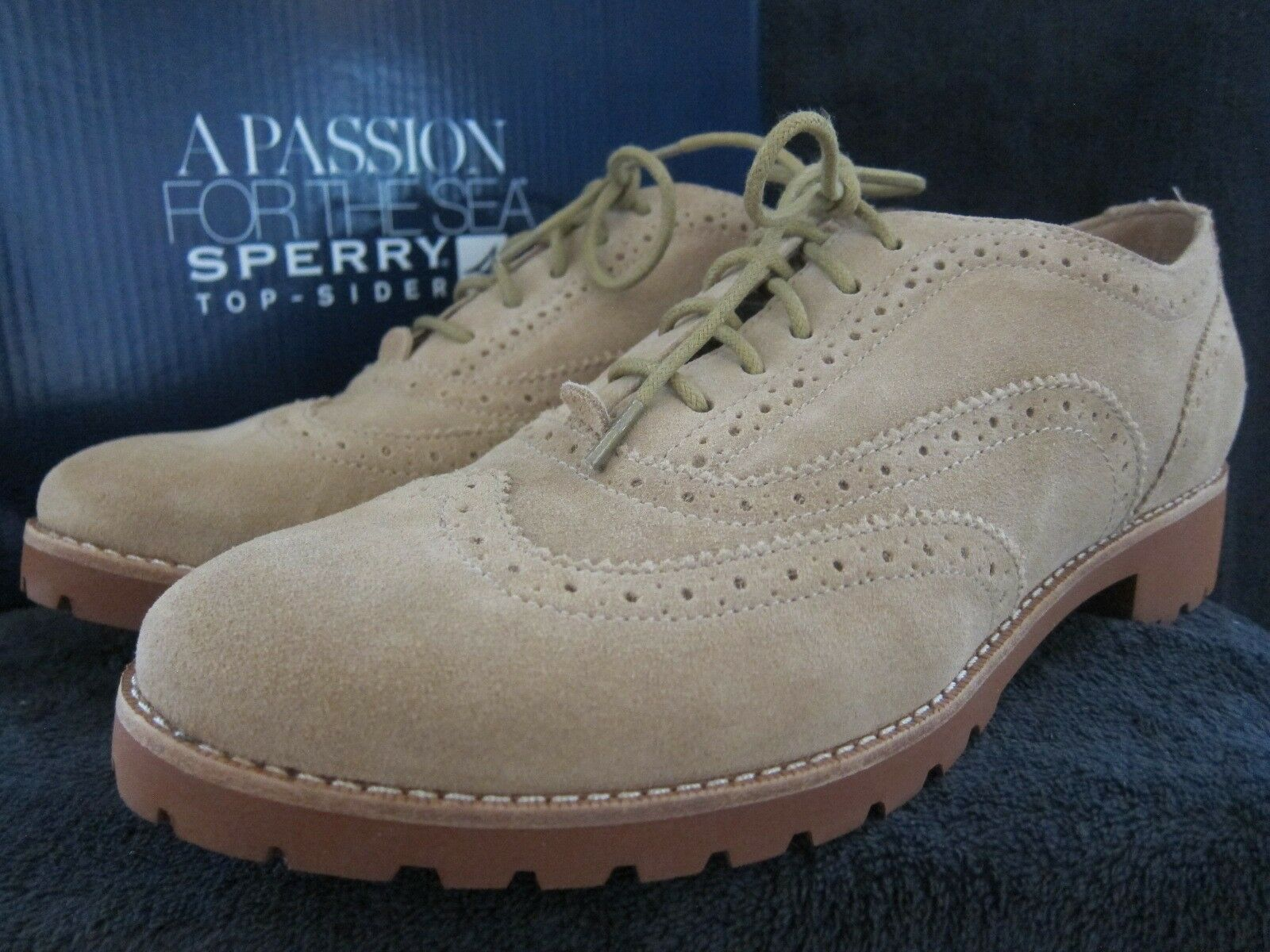 SPERRY Top Sider Ashbury Sand Brown Suede Suede Brown Oxfords Shoes US 9.5 M NWB 794c42