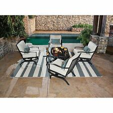 Patio Furniture Conversation Set With Fire Pit Table Metal Chairs Seat Cushions