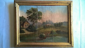 RARE TABLEAU HUILE FIN XVIIIe PAYSAGE TRANSPORT FOIN BARQUE PERSONNAGES
