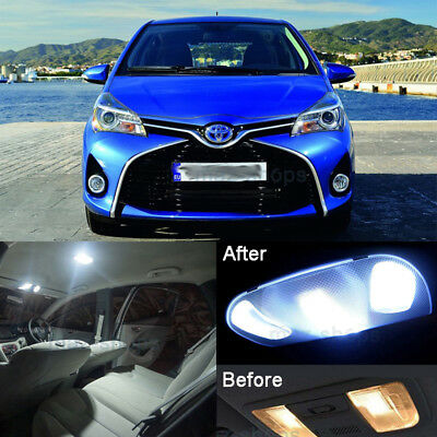6pcs Xenon White LED Interior Light Kit For Toyota Vitz Yaris XP90 2005-2015