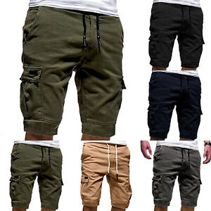 Mens-Elastic-Waist-Cargo-Pockets-Shorts-Fashion-Drawstring-Half-Pants-Trousers