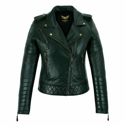 Genuine Ladies Biker Leather Jacket  Real Cowhide Women Classic Slim fit style