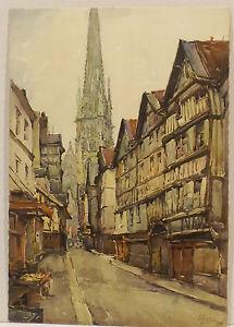 """"""" Rouen -rue De Longueur` Eqicerie """" A. Marc Nicholas Markovitch Art Lustre Brillant"""
