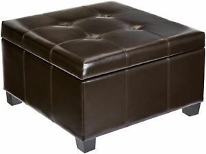 Admirable Details About Large Square Storage Ottoman Faux Leather Extra Seat Foot Rest Mini Coffee Table Gmtry Best Dining Table And Chair Ideas Images Gmtryco