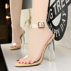 6f64b24cf46 Women Strappy Sandals Block High Heels Open Toe Transparent Party ...
