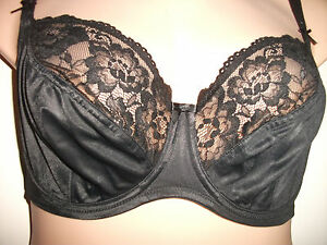 aeef8b2f40d75 ex M   S BLACK SOFT SHINE CUP FLORAL LACE TRIM UNDERWIRED UNPADDED ...
