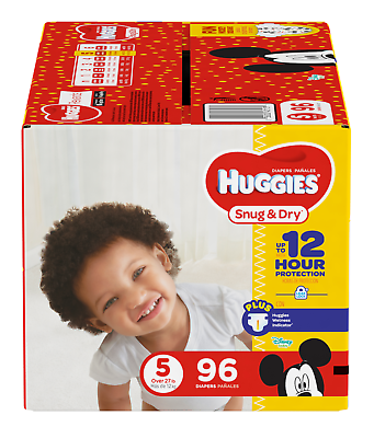 Disney 96 pieces Brand NEW Huggies Snug /& Dry Giga Diapers Nappies Size 5