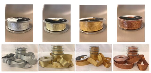 25 40mm Rose Gold Silver Copper 15 Berisfords Sparkly Glitter Lame Ribbon 7