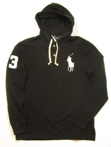 Polo Ralph Lauren Men/'s Black Big Pony Cotton Mesh Pullover Henley Hoodie