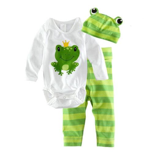 3tlg Kinder Mädchen Jungen Strampler Romper Bodysuit Overall Hut Hose Outfit Set