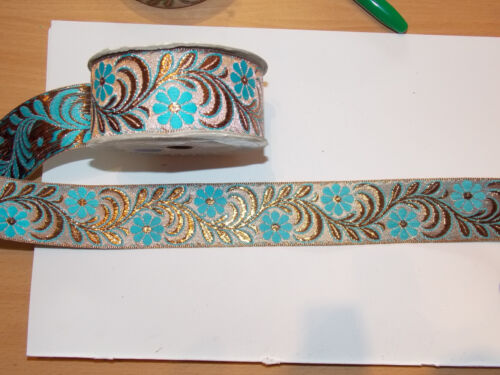 45mm blue gold bronze metallic embroidered ribbon applique motif trim Indian