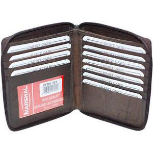 Brown-Leather-Men-039-s-Zip-Around-Hipster-European-Wallet-ID-Card-10-Card-Holder