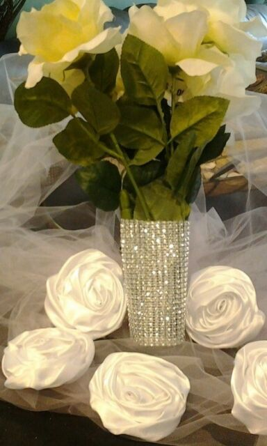 Silver Wedding Bouquet Wrap Wedding Wrapping Bling Holder 3 Free pins