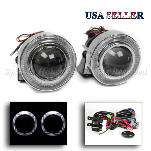 "EZ INSTALL JDM STYLE 3"" WHITE HALO LED PROJECTOR FOG LIGHTS W/ SWITCH FOR NISSAN"