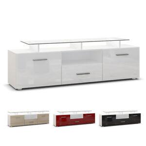 tv lowboard board schrank tisch m bel almada in wei hochglanz naturt ne ebay. Black Bedroom Furniture Sets. Home Design Ideas