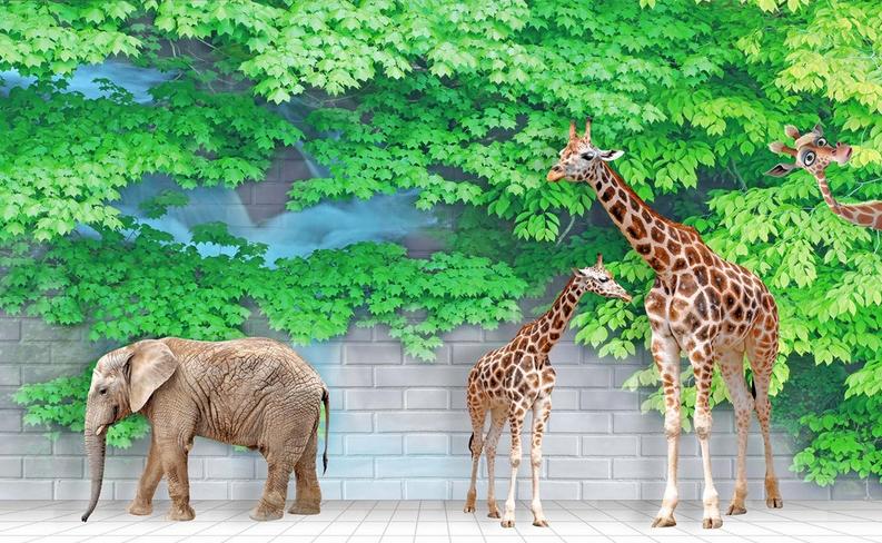 3D Elefant Baum Baum Baum Giraffe 754 Tapete Wandgemälde Tapete Tapeten Bild Familie DE | Umweltfreundlich  6cbd6c