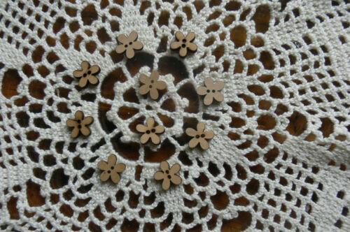 FLOWER BUTTONS 5 Petals 2 Holes x 20 WOOD VENEER 15mm across