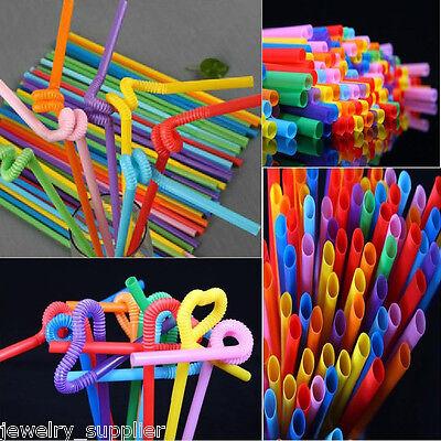 100pcs Bendable Plastic Random  Drinking Straws Striped Birthday Wedding Party
