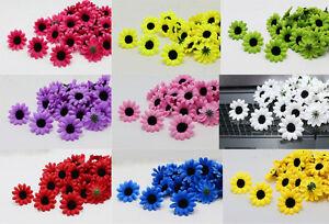 50-100PCS Black Stamens Gerbera Daisy Heads Artificial Silk Flowers Wedding NEW