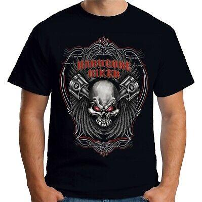 Velocitee Mens Long Sleeve T Shirt Hardcore Biker Motorcycle Harley W12391