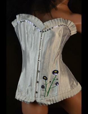 Glamorous Bridal White Satin Boned Corset Bustier A G-STRING S M L XL
