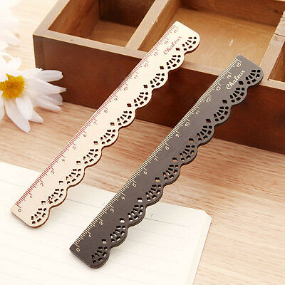 New 1pc Korea Zakka Kawaii Cute Stationery Lace Wood Ruler Sewing Ruler Hot