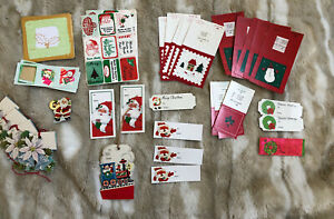 Mixed-Lot-Of-90-Vintage-Unused-Christmas-TAGS-34-And-Stickers-Seals-56