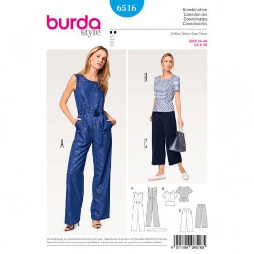 Pants /& Jumpsuit Burda-6516 Burda Ladies Easy Sewing Pattern 6516 Top