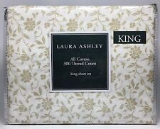 Laura Ashley 300TC Combed Cotton White Background & Beige Floral King Sheet Set
