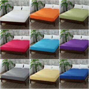 Bed-Fitted-Sheet-Elastic-Sheets-Polyester-amp-Cotton-Single-Twin-Full-Queen-King