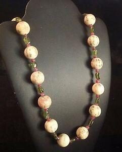 Rare-Design-Chinese-Vintage-Painted-Bone-Beads-Alternate-Peridot-Ruby-Necklace