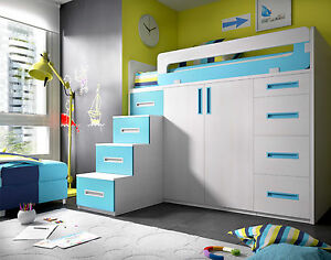 komplett hochbett kinderzimmer inkl begehbarem kleiderschrank schubladen treppe ebay. Black Bedroom Furniture Sets. Home Design Ideas