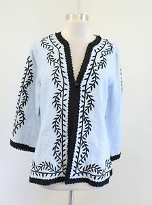 Linea-Baby-Blue-Black-Floral-Embroidered-Ruffle-Trim-Linen-Blazer-Jacket-Size-M